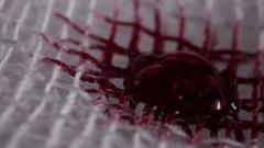 Bandages soaked with blood under macro Stock Footage