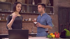 Busy lady and guy eat delivery food Stock Footage