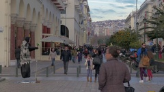 People are walking along the pedestrian street in the daytime. Thessaloniki Stock Footage