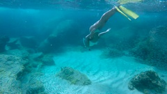 Couple snorkeling underwater in Virgin Gorda Stock Footage