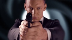 4K Secret Agent Man with Handgun, 007 Spy, Bond Isolated Shot, Tuxedo Stock Footage