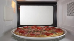 Baked mushroom ham pizza heating in microwave oven inside view Stock Footage