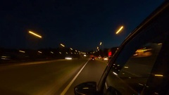 Driving on night city, side view, time-lapse Stock Footage