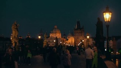 Night view of Charles Bridge and Old Town in Prague Stock Footage
