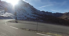 Driving down the Col d'Izoard Stock Footage