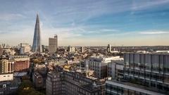 South London skyline, UK, The Shard and London Bridge station; time lapse Stock Footage