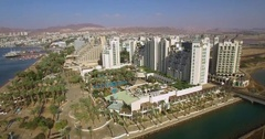 Eilat Hotels and Resorts red sea  coastline Stock Footage