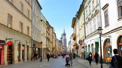 4K Beautiful Old City Europe Street, Urban Architecture, Cafe and Travel Stock Footage