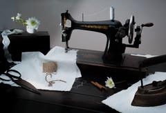 Classic retro style manual sewing machine ready for  work. The  is old  made of Stock Photos