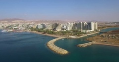 Eilat Israel Hotels and Resorts coastline from air. Stock Footage