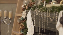 Room decorated for Christmas. The big room with the decorated fireplace.Light in Stock Footage