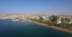 Eilat Israel Hotels coastline - from air Stock Footage
