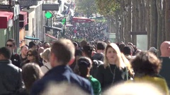Crowd street, people passing in rush, champs-elysees, paris, france Stock Footage
