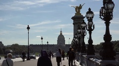 People, cars, bus passing on paris bridge, busy tourism, Alexandre bridge Stock Footage