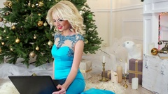New Year's Eve, a beautiful young woman in sexy holiday dress, christmas wishes Stock Footage