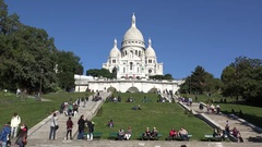 Pure White Sacre Coeur Cathedral on blue serene sky on background  Stock Footage