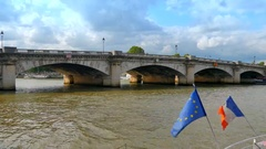 4K European Union Flag and French Flag, Seine River, Paris France Stock Footage