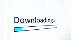 Downloading Data Files on a Computer Screen with Blue Bar - Slant Stock Footage