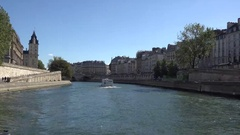 Cruise on seine river passing close historical buildings Stock Footage