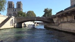 Notre Dame Cathedral, cruise on Seine river Stock Footage