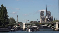 Notre dame de Paris, sight view seen from seine rive cruise Stock Footage