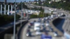Rush-hour traffic on I5, Seattle, Washington, United States, Stock Footage