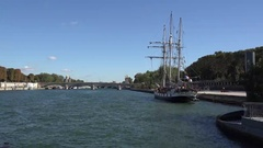 Trip on seine river going close old ship Stock Footage