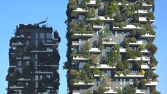 Bosco Verticale (Vertical Forest) buildings in Milan, Italy Stock Footage