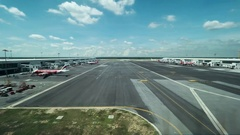 Timelapse of plane traffic on flying line in airport Stock Footage