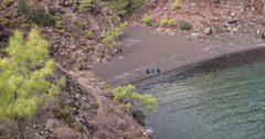 Small Wild Beach With Tourists From Above Stock Footage