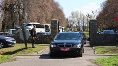 The Russian delegation left the cemetery of Soviet soldiers in Braniewo Poland Stock Footage