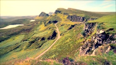 Scottish Higlands with Empty Road Across Frame with Tilt Shift Edit Stock Footage