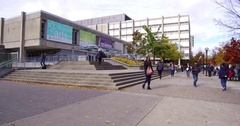 Students on campus at University of Toronto Stock Footage