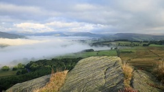 Beautiful Misty Morning over British Countryside Seeing from the Edge of Hill Stock Footage