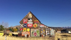 Old rustic barn with antique signs HD Stock Footage