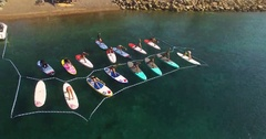 Fitness Training on a sup board at sea Stock Footage