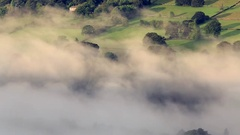 Heavy Mist over Scenic British Countryside Land Stock Footage