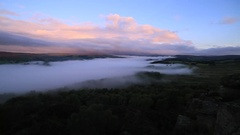 Morning Mist Spreading Across Peak District National Park, Elevated Angle Stock Footage