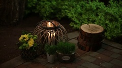 Illuminator with candle and pots Stock Footage
