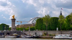 4K Grand Palais, Paris Alexandre Pont III Bridge in Summer with Seine River Stock Footage