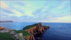 Lighthouse at the Edge of Rocky Land Tilt Shift Edit Stock Footage