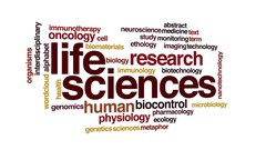 Life sciences animated word cloud. 3d camera move. Stock Footage