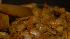 Slow Motion Cuisine Dakgalbi Korean food. Chef cook in a restaurant Korea-Dan Stock Footage