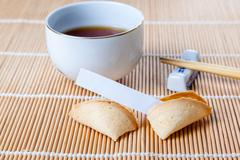 Broken Fortune Cookie with Slip and Chopsticks and Tea Stock Photos