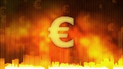 Euro sign pulsing on fiery background, money rules the world, greed, obsession Stock Footage