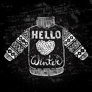 Hello winter text and knitted wool sweater with a heart. Seasonal shopping Stock Illustration