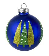 Blue Christmas tree Ball with glitter on a white background Stock Photos