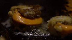 Slow Motion Cuisine Sea Food. Chef cook a Clams on grilled in a kitchen-Dan Stock Footage