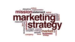 Marketing strategy animated word cloud. Flying words. Stock Footage