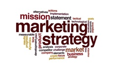 Marketing strategy animated word cloud. 3d camera move. Stock Footage